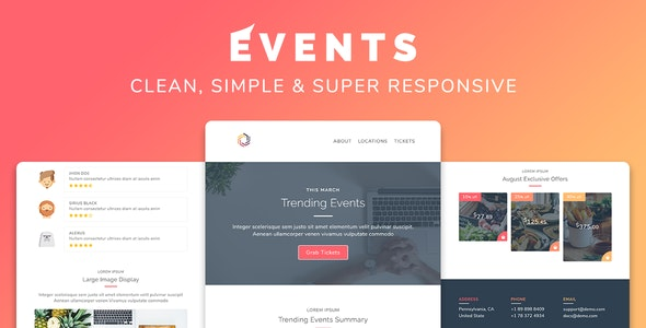Events v1.0 - Responsive Multipurpose Email Template preview image