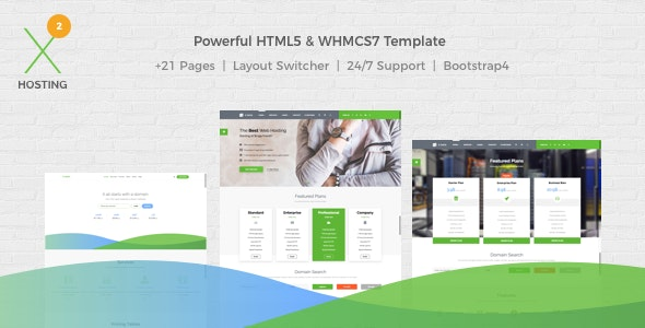 X-DATA v2.1.0 - WHMCS7 & HTML5 Powerful Web Hosting Template preview image