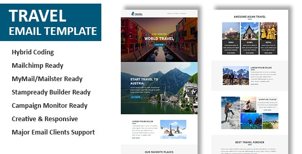 Travel v1.0 - Multipurpose Responsive Email Template with Online StampReady & Mailchimp Builders preview image