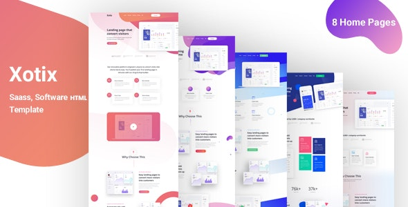 Xotix v1.0 - Software & Saas Landing Page Template preview image