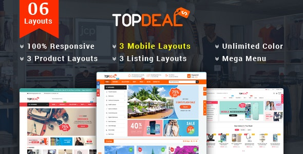TopDeal v1.1.0 - Responsive MultiPurpose HTML 5 Template (Mobile Layouts Included) preview image
