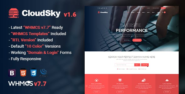 CloudSky v1.6 - Multipurpose Domain, Hosting and WHMCS Template preview image