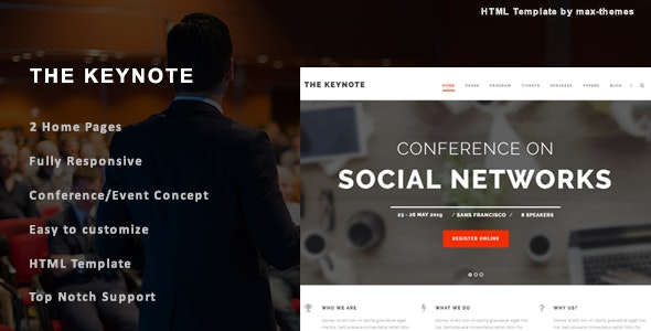 The Keynote v1.0 - Conference/Event HTML Template preview image