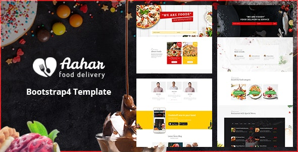 Aahar - Food Delivery Service Bootstrap4 Template preview image