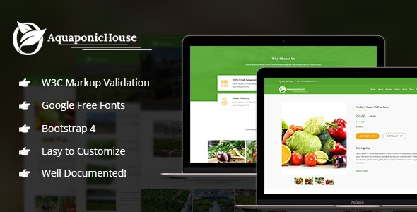 Aquaponic House v1.0 - Bootstrap Template preview image