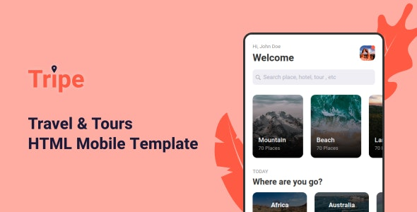 Tripe v1.0 - Travel & Tour Mobile Template preview image