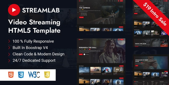 Streamlab v1.0 - Video Streaming HTML5 Template preview image