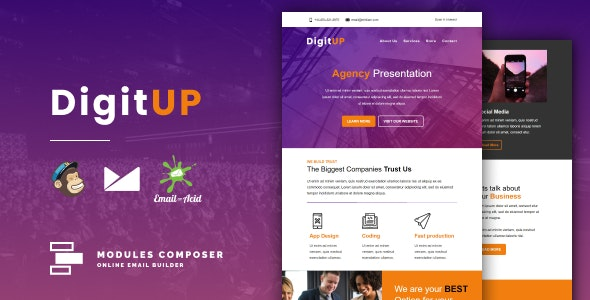 Digitup v1.0 - Responsive Email for Agencies, Startups & Creative Teams with Online Builder preview image