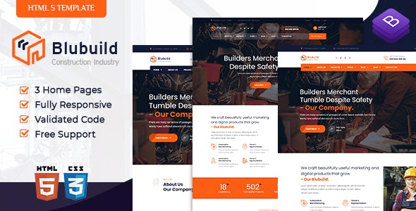 BluBuild v1.0 - Industrial Construction HTML Template preview image