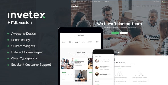 Invetex v1.0 - Business Consulting & Investments Site Template preview image