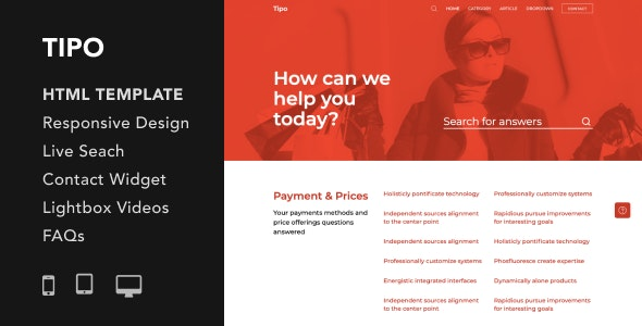 Tipo v1.0 - Helpdesk and Documentation HTML5 Responsive Template preview image