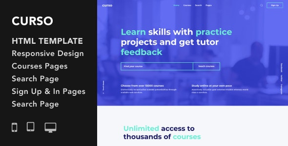 Curso v1.0 - Courses and LMS HTML5 Responsive Template preview image