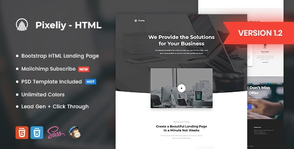 Pixeliy v1.2 - Business HTML Landing Page Template preview image