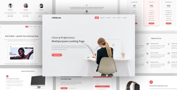Vakavia v1.0 - Multipurpose Landing Page Template preview image