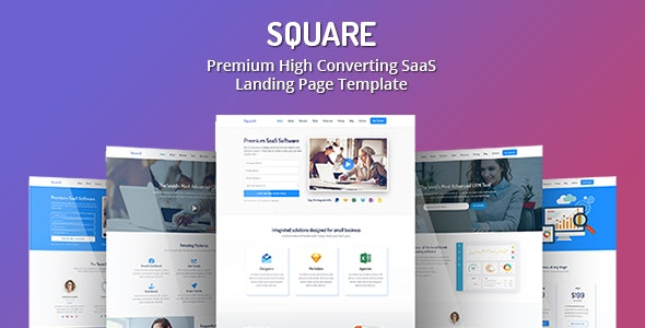 Square v1.0 - Premium High Converting SaaS Landing Page Template preview image