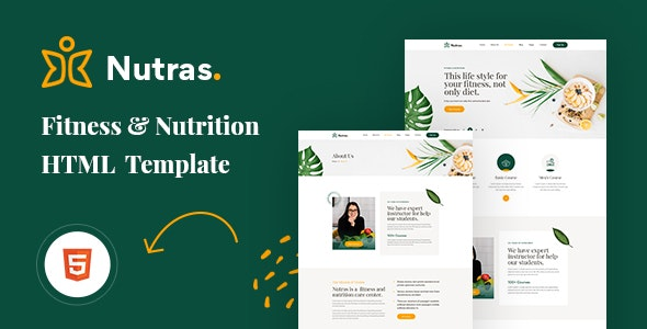 Nutras v1.0 - Fitness & Nutrition Bootstrap 5 Template preview image