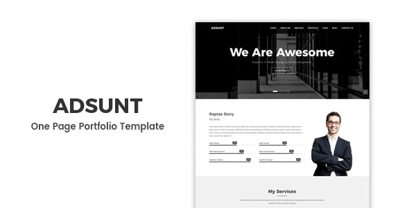 Adsunt - One Page Portfolio Template preview image