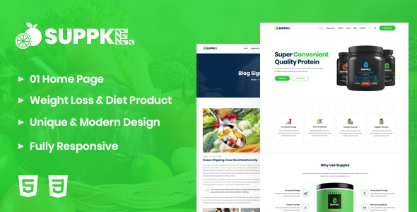 Suppke v1.0 - Health Supplement Landing Page preview image