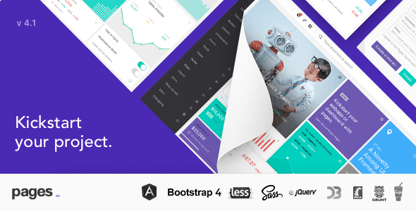 Pages v4.1 - Admin Dashboard Template with Angular 6, Bootstrap 4 & HTML Product Image
