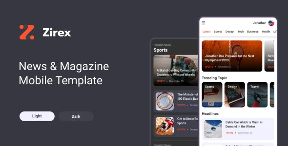 Zirex v1.0 - News & Magazine Mobile Template preview image