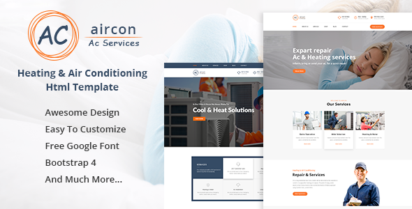 Aircon - Air Conditioning Services Bootstrap 4 Template preview image