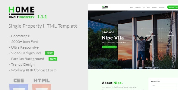 Home v1.1.1 - Single Property HTML Template preview image