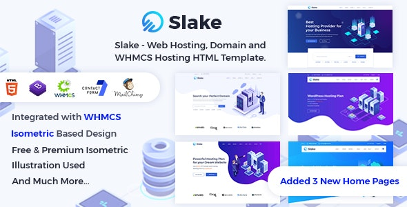 Slake v2.0 - Web Hosting, Domain and WHMCS Hosting HTML Template preview image