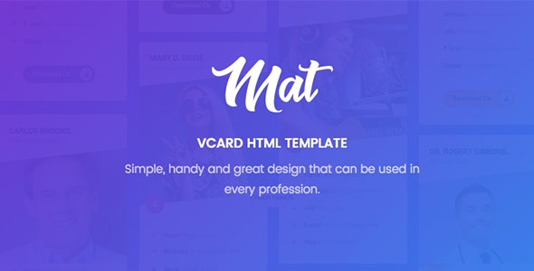 Mat v1.0 - vCard & Resume Template preview image