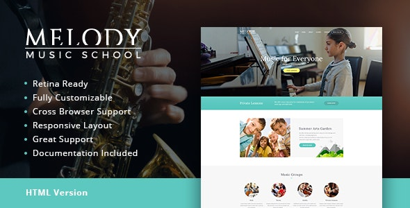 Melody v1.1 - Music School HTML Template preview image