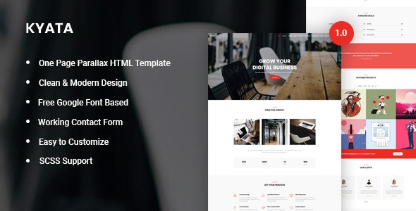 Kyata v1.0 - One Page Parallax HTML5 Template preview image