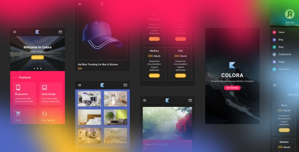 Colora v1.0 - Colorful Material Design Mobile Template preview image