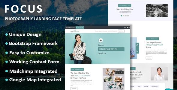 Focus v1.0 - Photography Landing Page Template Product Image