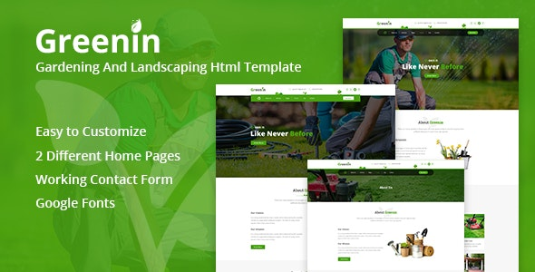 Greenin - Environment HTML Template preview image