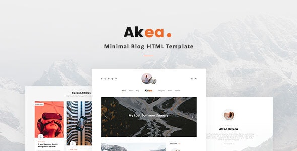 Akea v1.0 - Minimal Blog HTML Template preview image