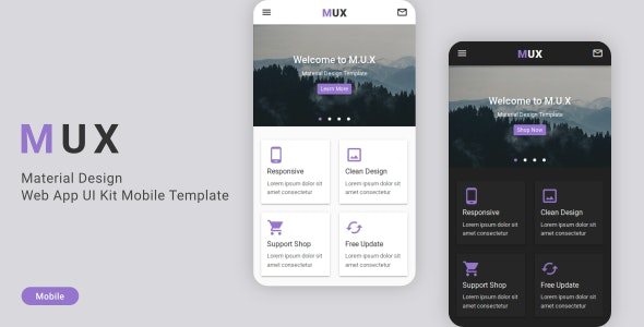 MUX v1.0 - Material Design Web App UI Kit Mobile Template preview image