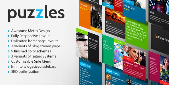 Puzzles v1.0 - Magazine/Review HTML Theme preview image