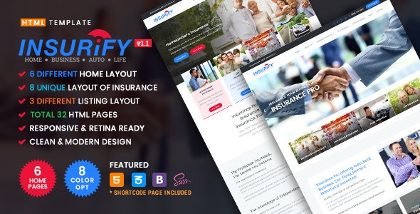 Insurify v1.1 - Ultimate Template for Insurance Agency preview image