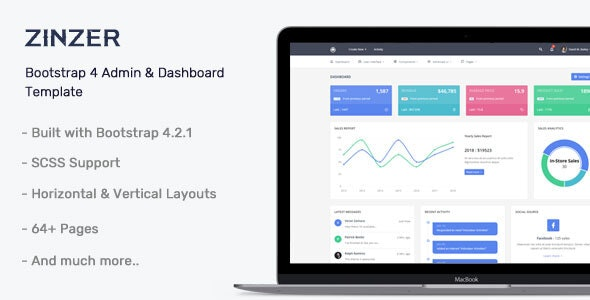 Zinzar v1.0.0 - Admin Dashboard Template preview image