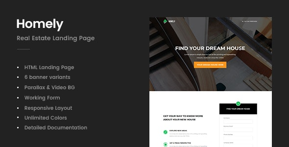 Homely v1.0 - Real Estate Landing Page preview image