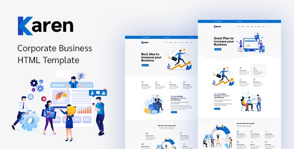 Karen v1.0.1 - Corporate Business Bootstrap 4 Template preview image
