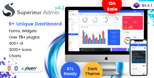 Superieur Admin v4.2 - Responsive Bootstrap 4 Admin Template Dashboard Web App preview image