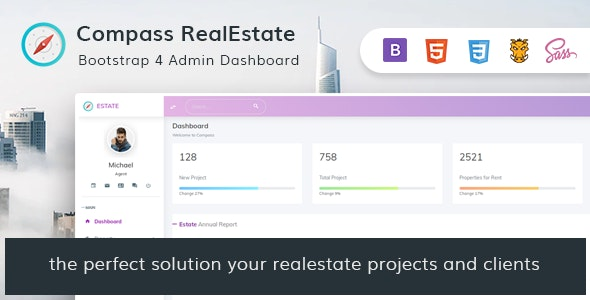 Compass RealEstate v1.0 - HTML Admin Template Product Image