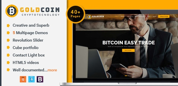 GoldCoin v1.0 - Bitcoin Cryptocurrency HTML Template preview image
