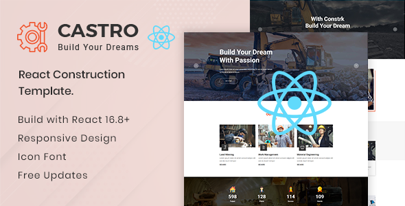 Castro v1.0 - React Construction Template preview image