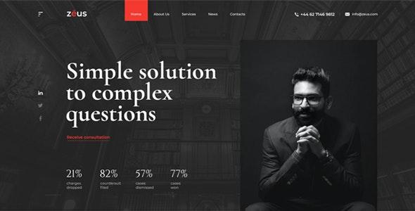 Zeus v1.0 - Lawyers and Law Firm HTML Template preview image