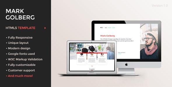 MG v1.0 – Freelance Portfolio & Resume One Page HTML5 Template preview image