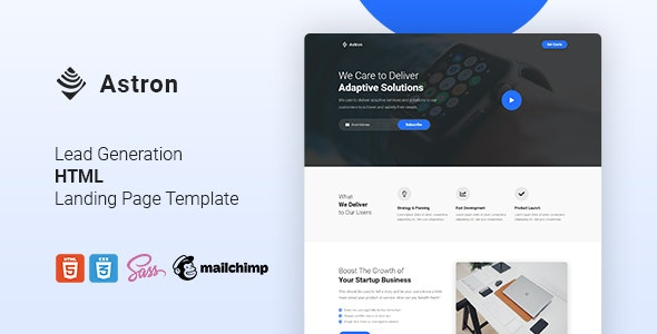 Astron v1.0 - Lead Generation HTML Landing Page Template preview image