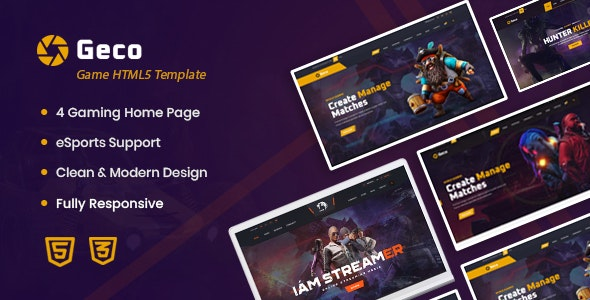 Geco v1.0 - eSports Gaming HTML5 Template preview image