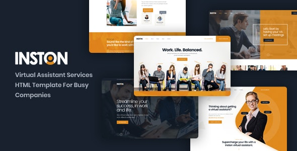 Inston v1.0 - Virtual Assistant Services HTML Template preview image