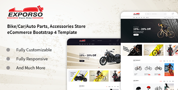 Exporso - Bike Parts & Accessories HTML Template preview image